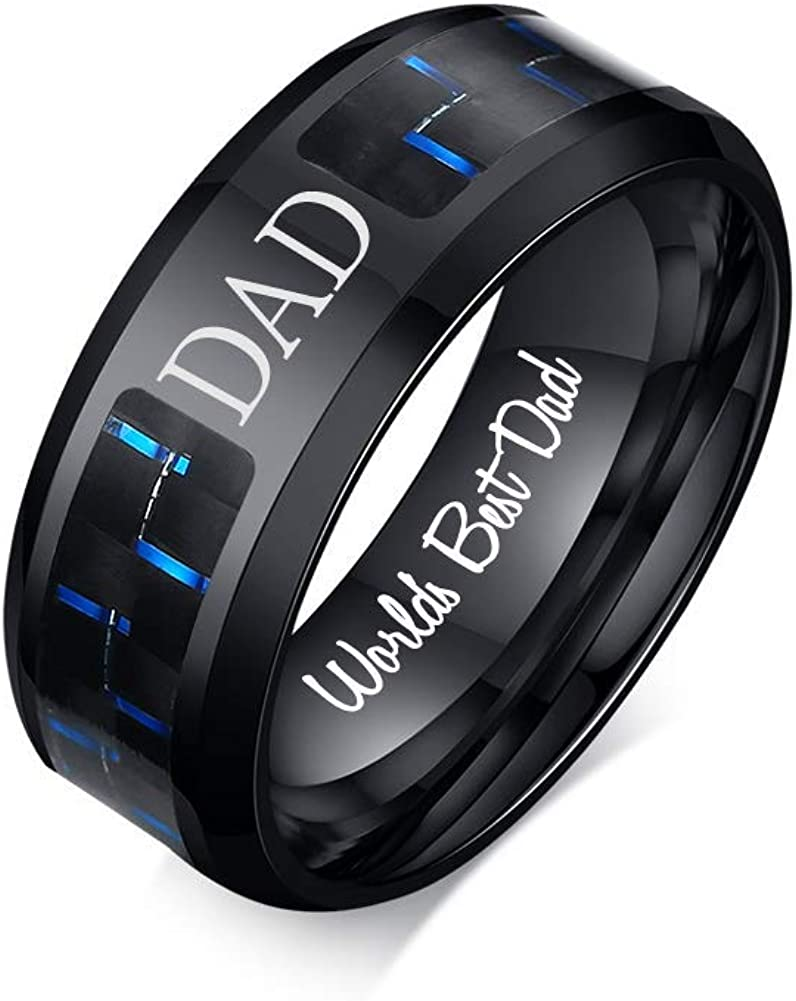 VNOX 8MM Stainless Steel World's Best Dad Inside Carbon Fiber Band Ring,Gift for Dad