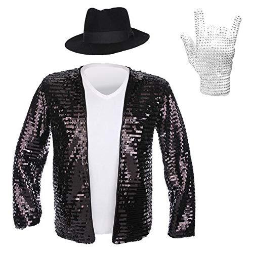 Michael Jackson Jacket Costumes MJ Hat T-Shirt Glove Set Classic Billie Jean Jacket Shirts Performance Collection Set (S, Jacket/hat/Shirt/Glove Full Set) -