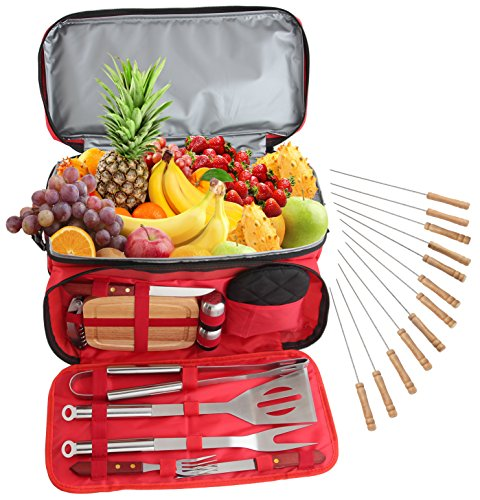 ROMANTICIST 24Pc Stainless Steel BBQ Grill Tool Set with 15 Can Water Proof Insulated Cooler Bag - Outdoor Barbecue Grill Accessories Set for Camping Trips Tailgating