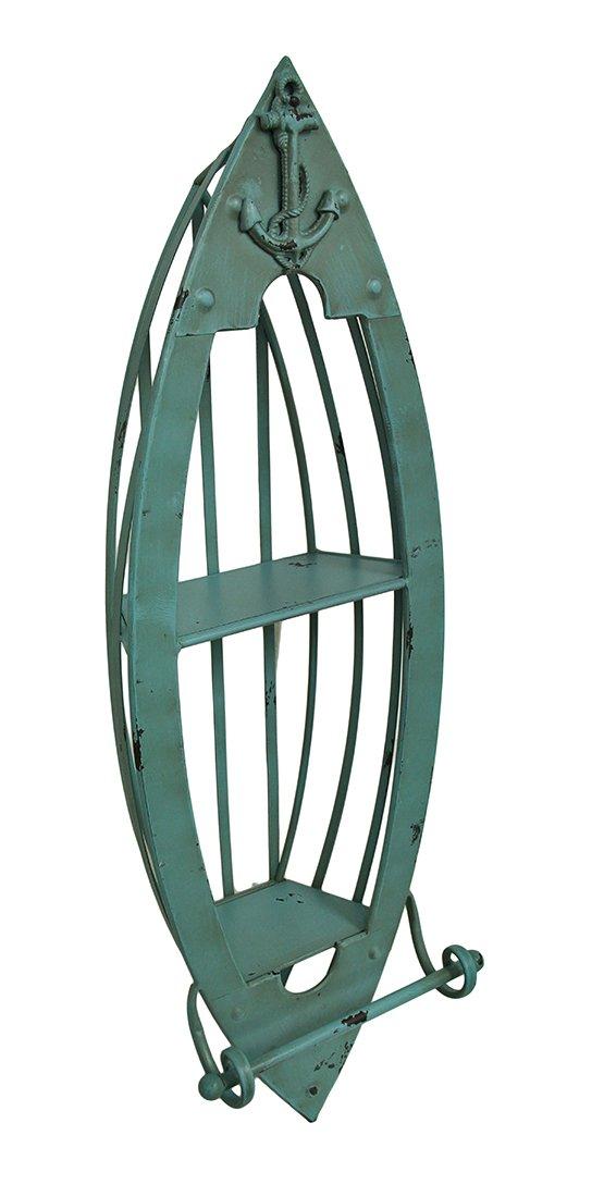 Metal Wall Mounted Towel Racks Distressed Metal Nautical Boat Wall Shelf W/Towel Bar 36 In. 12.5 X 36 X 8.5 Inches Turquoise Model # BEA95550