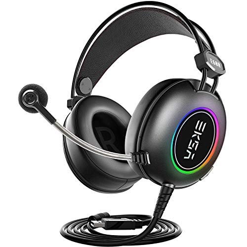 EKSA 7.1 Surround Sound PS4 Gaming Headset – Over Ear USB Gaming Headphones with Noise Canceling Mic RGB Light – Compatible with PC, Playstation 4 Console, Laptop, Mac