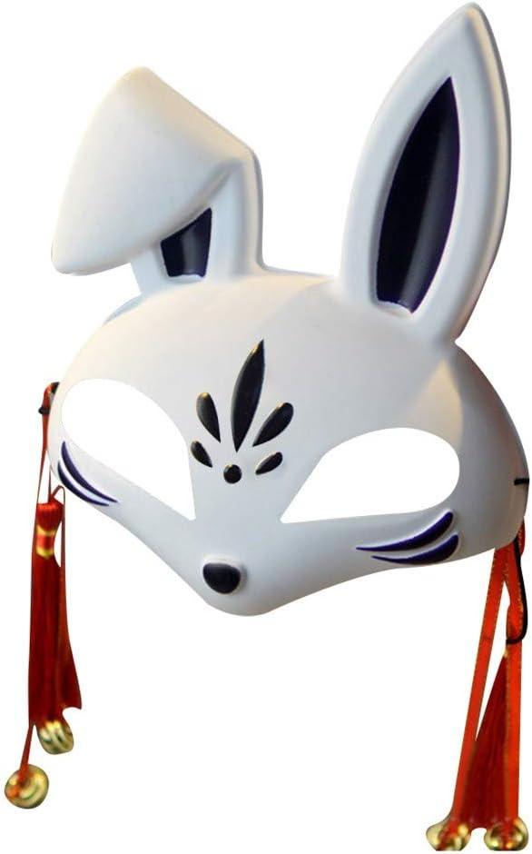 Máscara japonesa Kabuki de media cara para disfraz, con borla y ...