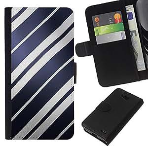 All Phone Most Case / Oferta Especial Cáscara Funda de cuero Monedero Cubierta de proteccion Caso / Wallet Case for LG OPTIMUS L90 // Blue Paper White Navy Parallel