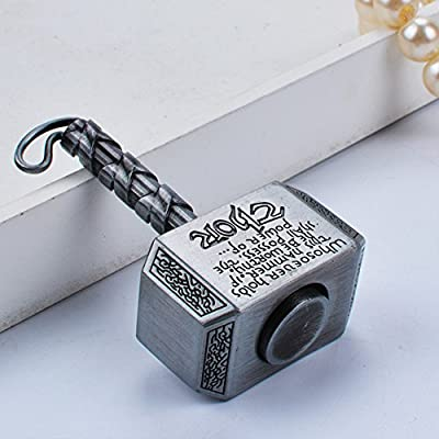 Mjolnir Keychain Thor's Hammer Fidget Spinner Hand Spinner Toy Focus Copper Toy Stainless Steel Metal Fidget Toys Fingertip Gyro Stress Relief Cube Fun Gifts for ADD ADHD EDC(Silver): Toys & Games