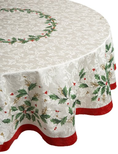 Lenox Golden Holly 60-inch by 84-inch Oval Tablecloth ()