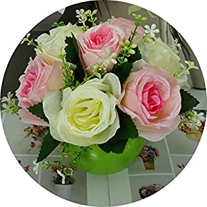BUOP Assorted Colored Roses, Potted Tabletop Artificial Flower Plant (Pink and Yellow) 46