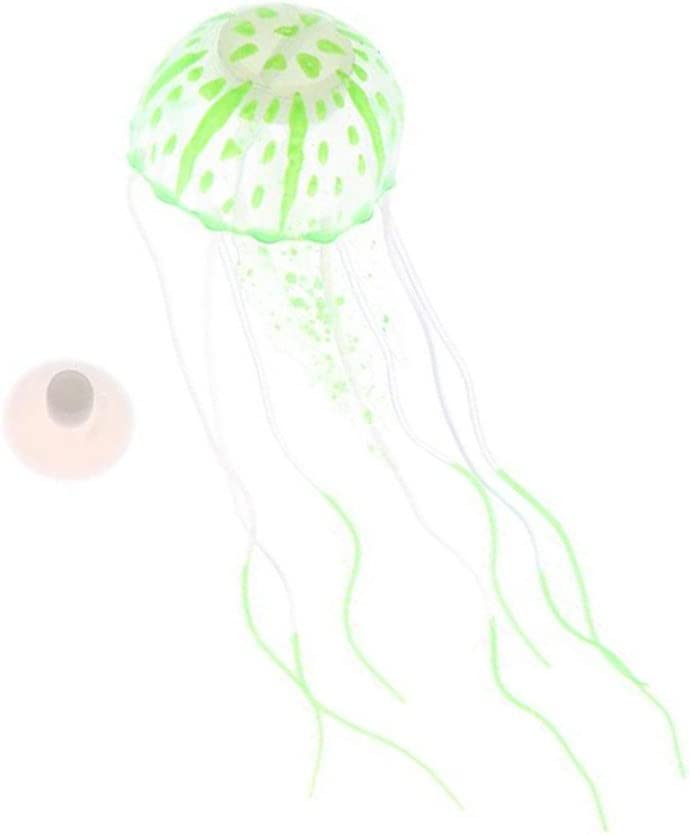 Evangelia.YM Colorful Luminous Jellyfish Aquarium Fish Tank Decorations - Glowing in The Water LED Effect Landscape Fish Tank Artificial Ornament (Green)