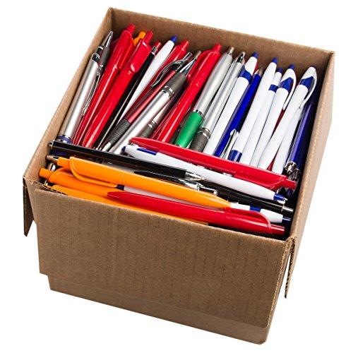 Office Supplies (5 Pound Box, Approx. 200-250 Pens) Retractable Ballpoint Pens Black Bulk Click Assorted Point Ink Pen Plastic Metal (Click Ink Pens)