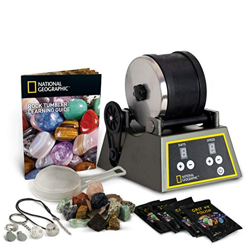 National Geographic Professional Rock Tumbler Kit- Advanced Features Include Shutoff Timer and Speed Control - 2lb Barrel, 1lb Gemstones, 4 Polishing Grits, Jewelry Fastenings and Learning Guide