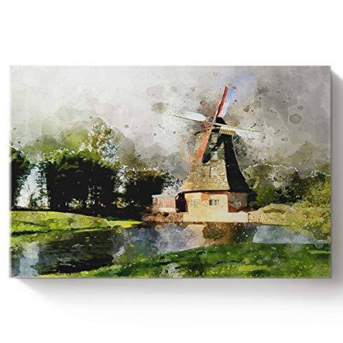 Arts Language DIY Oil Paintings Paint by Numbers Kit with Brushes for Adults/Kids Beginner Watercolor Style,Big Windmill by The River Acrylic Paints on Canvas Wooden Framed Wall Art 16x20in