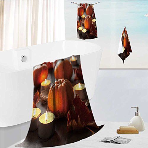 AuraiseHome joker bath towel set decorative halloween pumpkins and candles Highly Absorbent Machine Washable 13.8