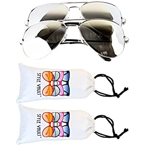 A3000-vp Pack of 2 Style Vault(TM) Aviator Sunglasses (LP 2 Pairs of Silver-Mirror)