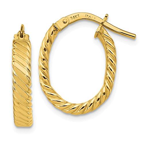 14k Yellow Gold 3mm Patterned Oval Hoop Earrings Ear Hoops Set Fine Jewelry Gifts For Women For Her