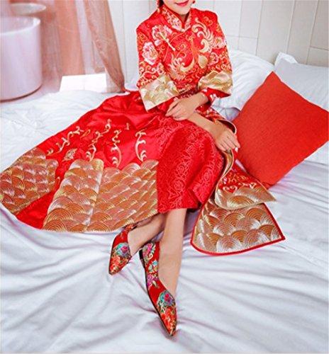 Strasssteine Court EU37 Peep Satin Sandalen Toe Heels CLOVER EU42 Frauen A Red Party Pumps Braut Shoes A LUCKY High qOYwSap
