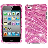 Bling Zebra Skin (Pink/Hot Pink) Diamante For Apple Ipod Touch 4g 4th Generation Hard Case Cell Phone Protector Phone Accessory