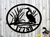 Blue Heron Custom Lake House Metal Address Sign - Hand Made - Made In USA Steel - LARGE SIGN (27w x 23h)