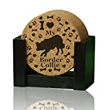 """I love my Border Collie"" premium coaster set. 4″ round 3/8″ thick cork drink coasters. Add a rustic or urban design Coaster Holder or 9″ Trivet. USA made by Ozarks Fehr Trade Originals Review"