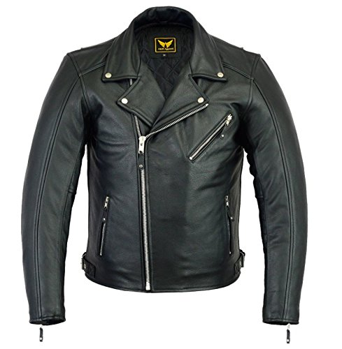 A&H Apparel Mens Leather Motorcycle Jacket Genuine Cowhide Zip Out Lining Jacket (Large)