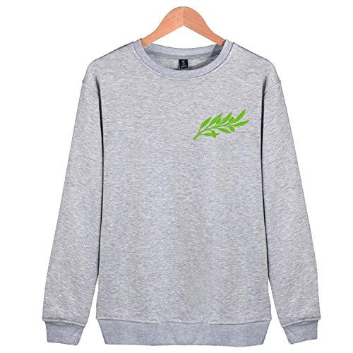 Men's Cartoon olive leaves Embroidery Cotton Sweatshirt Crewneck Fashion Tops