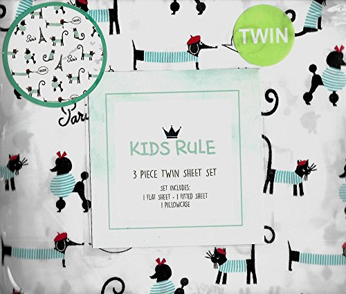 Kids Rule Paris Puppy Poodles Kitten White 3 Piece Twin Sheet Set Bonjour Eiffel Tower French Poodle French Dogs and Cats (Twin Paris Sheets)