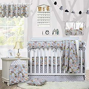 Brandream Crib Bedding Sets for Boys with Long Crib Rail Cover, Woodland Bear Fox Arrow Baby Nursery Bedding,9 Pieces, 100% Soft Cotton
