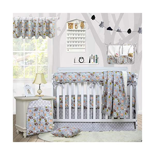 Brandream Crib Bedding Sets for Boys with Long Crib Rail Cover, Woodland Bear Fox Arrow Baby Nursery Bedding,9 Pieces, 100% Soft Cotton