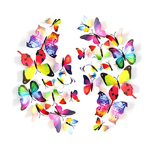 24 Pack 3D Butterfly Refrigerator Magnets, Fridge Magnets, Removable DIY Butterflies Refridgerator Decoration Wall Stickers (Rainbow)