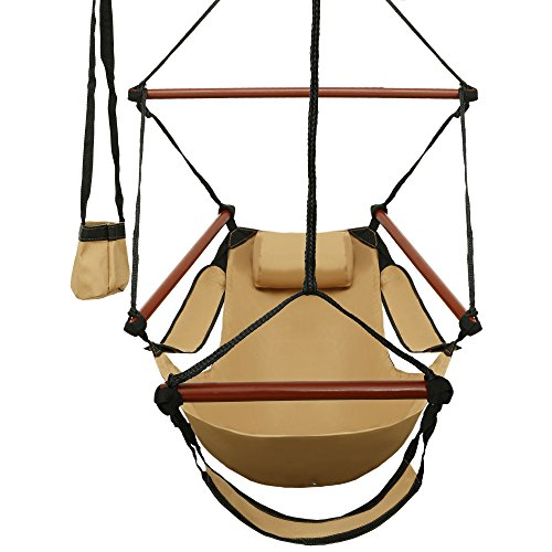 Ancheer Hanging Hammock Air Chair with Pillow, Cup Holder, Foot Rest and Spreader Bar, Light Brown (Canvas Reclining Recliner)