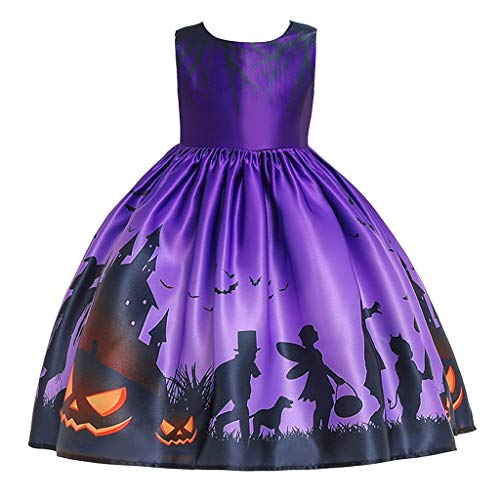 WUAI Halloween Baby Girl Pumpkin Dress Cartoon Bat Ghost Devil Print Cosplay Party Costume Princess Dress(Purple,3-4 Years)