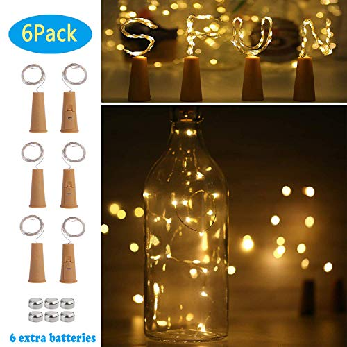 SFUN Wine Bottle Lights with Cork- 3 Dimmable Modes 6 Pack Battery Operated LED Silver Copper Wire Fairy String Lights for DIY, Party, Decor,Wedding