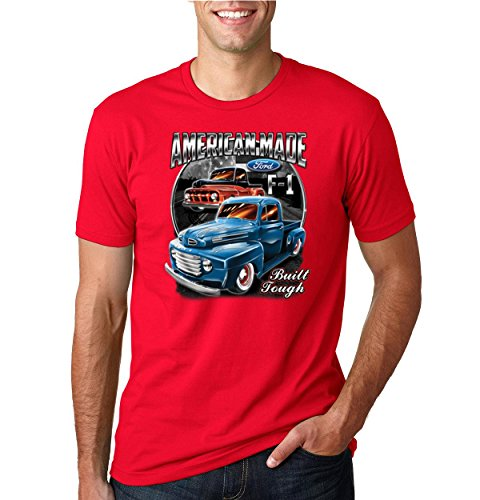 Ford F1 American Made Built Tough | Mens Planes/Trains/Automobiles Tee Graphic T-Shirt, Red, 4XL ()