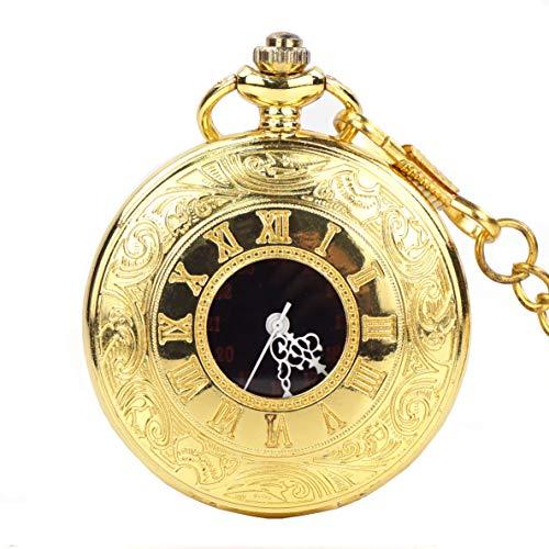 Vintage Gold Pocket Watch Steel Men Watch with Chain Vintange Roman