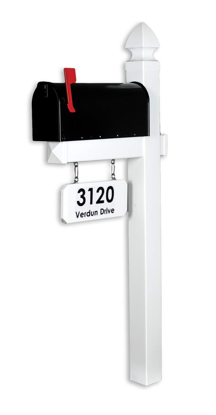 4EVER The Loudon Vinyl/PVC Mailbox Post - White (Includes Mailbox and Black Street Name and Number)