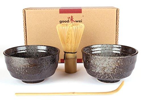 Goodwei - Juego de te Matcha japones con dos cuencos de te Matcha de ceramica