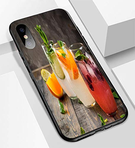 iPhone X/XS Ultra-Thin Glass Back Phone case,Set of Three Kinds of Gin Tonic Soft and Easy to Protect The Protective case