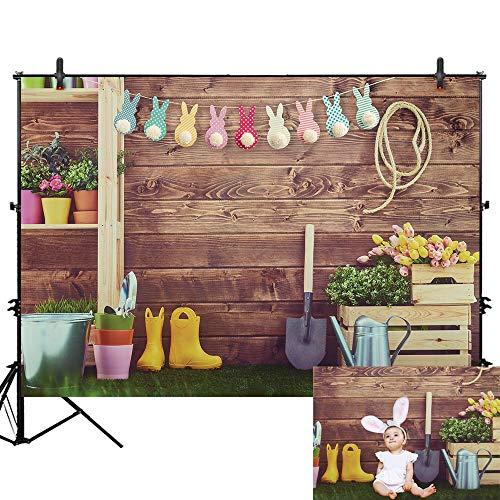 Allenjoy 7x5ft Rustic Garden Tools Spring Wood Wall Backdrop for Photography Children Kids Adults Portraits Photo Studio Props Flowers Grsaaland Kettle Background Newborn Pet Artistic Shoots Outdoors