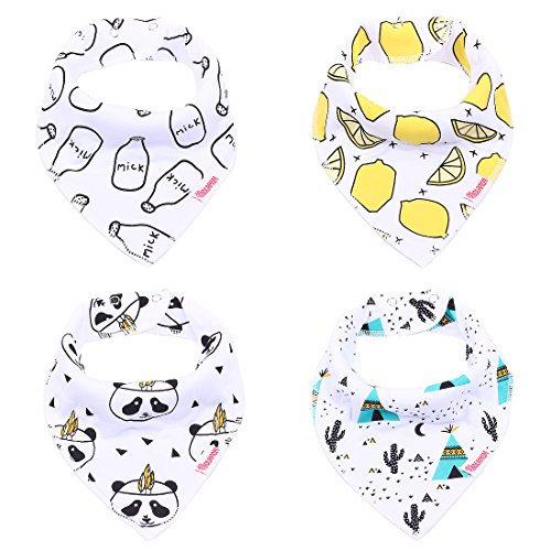 Kolamom Baby Bandana Drool Bibs 4-Pack 100% Cotton with Adjustable Snaps Milk (4 Pack Milk)