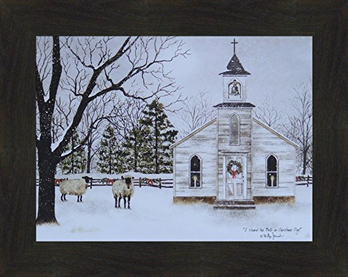 Home Cabin Décor I Heard The Bells On Christmas Day by Billy Jacobs 16x20 Country Church Sheep Lambs Wool Snow Snowing Framed Art Print Picture