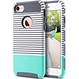 ULAK iPhone 7 Case, Colorful Series Slim Fit Hybrid Dual Layer Scratch Resistant Hard Back Cover Shock Absorbent TPU Bumper Case for Apple iPhone 7 4.7 inch- Minimal Mint Stripes+Grey