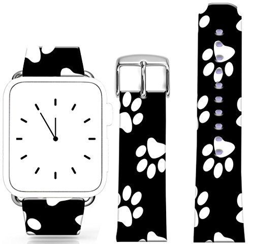 Band for Iwatch 38mm/40mm Series 1/2/3/4 / Topgraph Compatible Replacement Leather Strap for Apple Watch 38mm/40mm Black White Personalized Creative Superimposed Repeated Stacked Footprints Feet