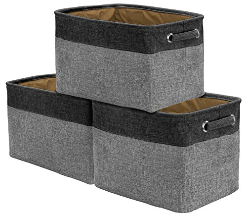 Sorbus Storage Large Basket Set [3-Pack] - 15 L x 10 W x 9 H, Big Rectangular Fabric Collapsible Organizer Bin Box with Carry Handles for Linens, Towels, Toys, Clothes, Kids Room, Nursery (Black/Grey) ()