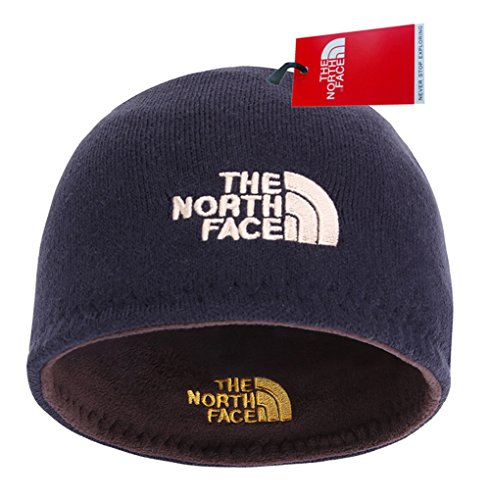 The North Face Winter Thicken Polar Fleece Knit Ski Reversible Beanie Hat (Blue, One Size)