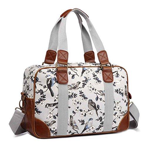 Miss Lulu Canvas Oilcloth Fashion Tote Shoulder Handbag for Women (1106-16J Grey)