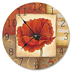 Stupell Home Décor Red Poppy Decorative Vanity Wall Clock, 12 x 0.4 x 12, Proudly Made in USA