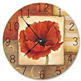 Cheap Stupell Home Décor Red Poppy Decorative Vanity Wall Clock, 12 x 0.4 x 12, Proudly Made in USA