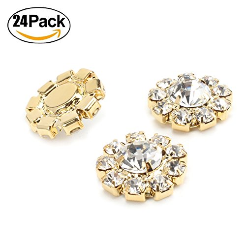 Wholesale 24PCS 16MM Gold Plated Metal Clear Rhinestone Glass Buttons Embellishments Bulk for Craft (Yellow Gold Brooch)