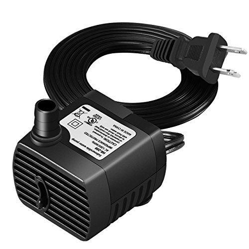 Homasy Submersible 53GPH (200L/H) Water Pump, Fish Tank Pump with 6.1ft (1.85M) Power Cord for Ponds, Aquarium, Statuary, Fountain, Hydroponics ()