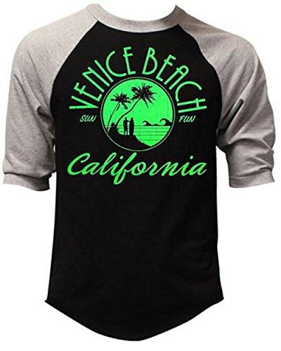 Venice Beach California Men's Baseball T-Shirt Gray/Black S-3XL (3XL, - Beach Stores Venice