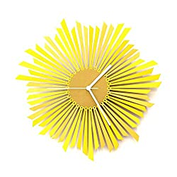 The Sun - Stylish Yellow/Gold Wooden Wall Clock, a Piece of Wall Art