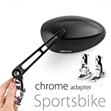 KiWAV Magazi Oval MX motorcycle mirrors black fairing mount w/ chrome adapter for sports bike adjustable e